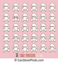 Cartoon vector set. 36 different emotions with girl.
