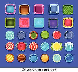 Cartoon vector set of bright and shiny mobile or computer game assets. Circles and squares with various patterns. Elements for gaming interface