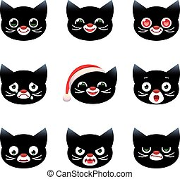 Cartoon vector smilies cats - Set of vector cartoon smilies...