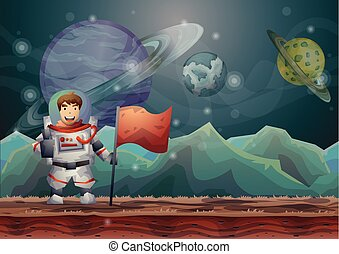 Cartoon vector space landscape background with separated layers