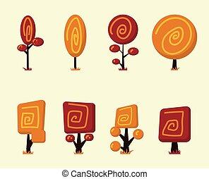 Cartoon vector trees set