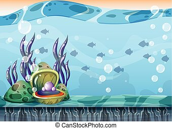 cartoon vector underwater background with separated layers...