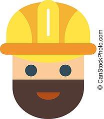 Cartoon vector worker character face.