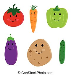 Cartoon vegetable cute characters and faces isolated on...
