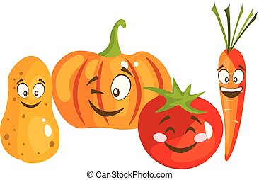 Cartoon vegetable cute characters face