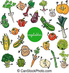 cartoon vegetables characters collection - Cartoon...