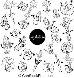 cartoon vegetables characters set color book - Black and...