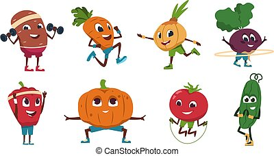 Cartoon vegetables exercises. Healthy food characters doing fitness activities and sport workout. Vector cute and funny vegetable set