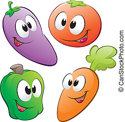 Cartoon Vegetables - Vector illustration of a set of cartoon...