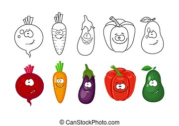 Cartoon vegetables set. Coloring book pages for kids. Beetroot,