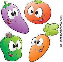 Cartoon Vegetables - Vector illustration of a set of cartoon...