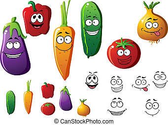 Cartoon vegetables with funny emotions - Cucumber, pepper,...