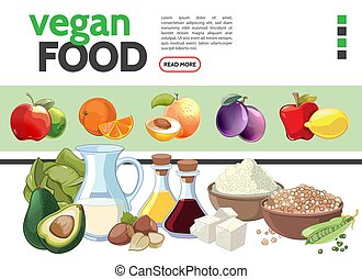 Cartoon Vegetarian Food Elements Collection