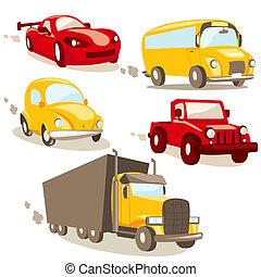 Cartoon vehicles, isolated illustration
