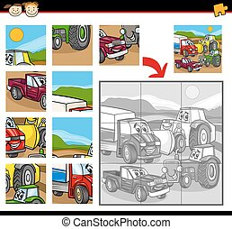 cartoon vehicles jigsaw puzzle game