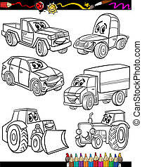 cartoon vehicles set for coloring book