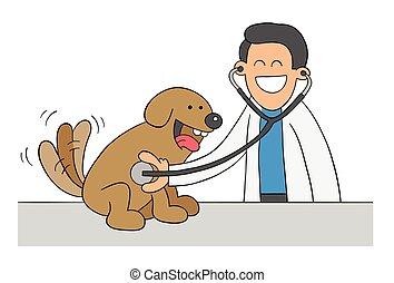 Cartoon veterinarian examining dog with stethoscope, vector illustration