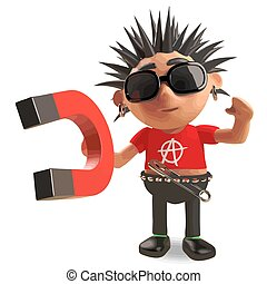 Cartoon vicious punk rocker demonstrates magnetism, 3d...
