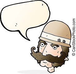 cartoon victorian big game hunter with speech bubble