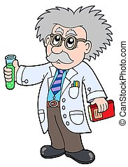cartoon, videnskabsmand, -