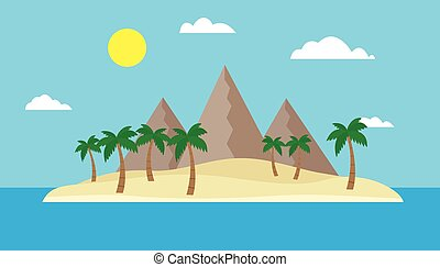 Cartoon view of a tropical island in the middle of an ocean or sea with a sandy beach, palm trees and mountains under a blue sky with clouds and sun on a bright summer day - vector, flat