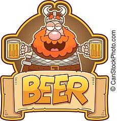 Cartoon Viking Beer Label
