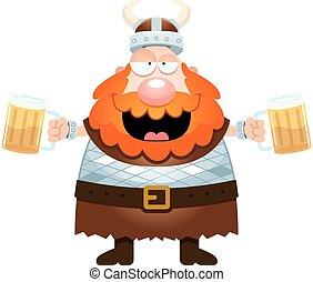 Cartoon Viking Drinking Beer