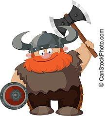 cartoon viking - illustration of a cartoon viking