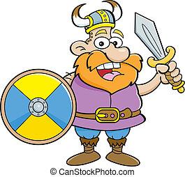 Cartoon viking holding a shield and