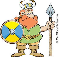 Cartoon viking holding a sign.