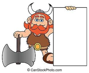 Cartoon Viking Holding Sign - Happy cartoon viking with...