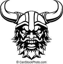 A cartoon viking man sports mascot