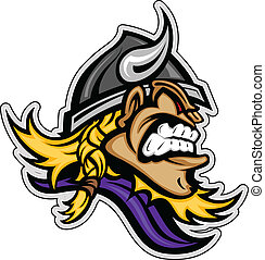 Cartoon Viking Mascot Head Vector Image with Horned Helmet -...