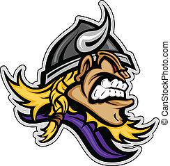 Cartoon Viking Mascot Head Vector Image with Horned Helmet...