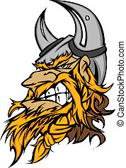 Cartoon Viking Mascot Head - Viking Norseman Head with...