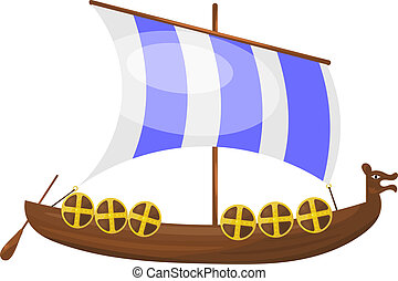 Cartoon Viking ship. eps10