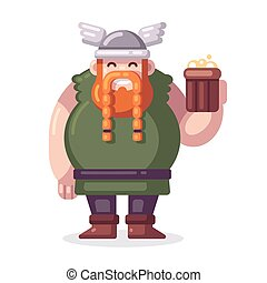 Cartoon viking with beer
