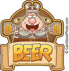 Cartoon Viking Woman Beer Label