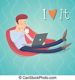Cartoon Vintage Geek Eager Beaver Symbol Man with Laptop Drinks Coffee Tea Icon on Stylish Background Retro Design Vector Illustration