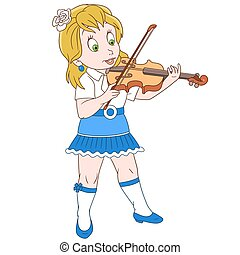 Cartoon violinist girl playing symphony music on her violin....