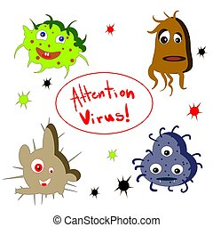 Cartoon virus character vector illustration on white background.
