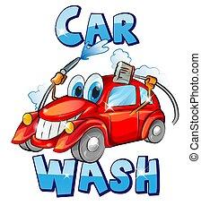 cartoon., voiture, signe., caractère, illustration, laver, vecteur