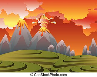Cartoon Volcano Eruption