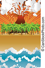 Cartoon volcano island