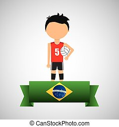 cartoon voleyball player brazilian label