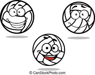 Cartoon volleyball balls on white