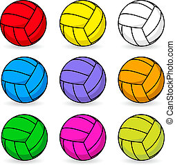 Cartoon volleyball in different colors - Cartoon volleyball...
