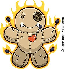 Cartoon Voodoo Doll Flames