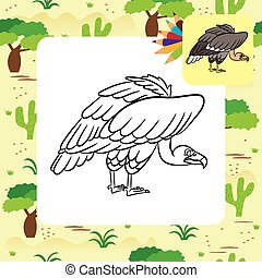 Cartoon vulture. Coloring page
