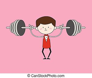Cartoon Waiter Caterer - Doing Weight Lifting